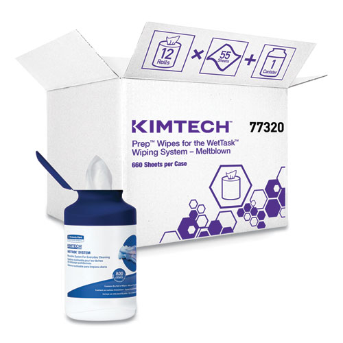 Kimtech™ Wipers for the WETTASK System, Quat Disinfectants and Sanitizers, 6 x 12, 660/Roll, 6 Rolls and 1 Canister/Carton