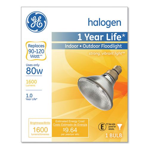 Energy-Efficient PAR38 Halogen Bulb, 90 W, Crisp White