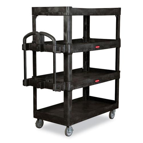 Rubbermaid® Commercial 4-Shelf Heavy-Duty Ergo Utility Cart, 700 lb Capacity, 24.35 x 54.1 x 62.4, Black