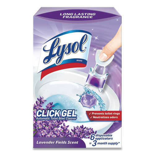 Click Gel Automatic Toilet Bowl Cleaner, Lavender Fields, 6/Box