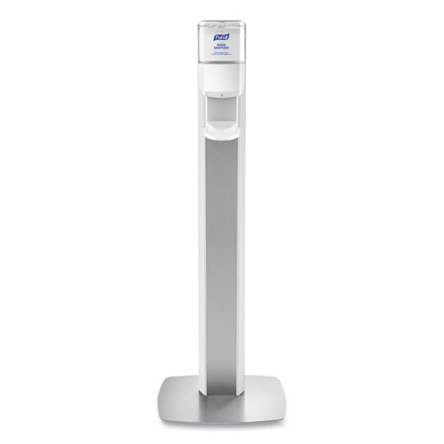 PURELL® MESSENGER ES8 Silver Panel Floor Stand with Dispenser, 1,200 mL, 16.75 x 6 x 40, Silver/White