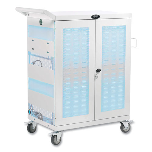 UV Sterilization and Charging Cart, For 32 Devices, 34.8 x 21.6 x 42.3, White