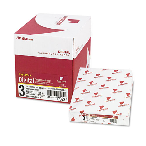 Fast Pack Carbonless 3-Part Paper, 8.5 x 11, Pink/Canary/White, 500 Sheets/Ream, 5 Reams/Carton