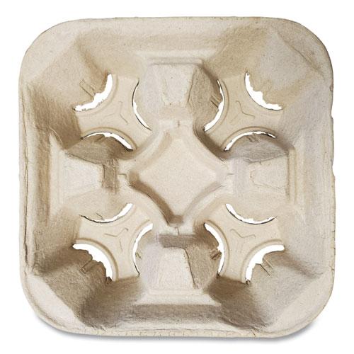 Molded Fiber Cup Tray, 8-32 oz, Four Cups, Kraft, 300/Carton