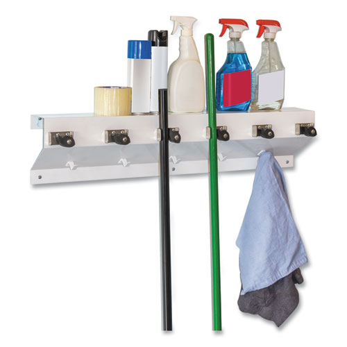 The Clincher Mop and Broom Holder, 34w x 5 1/2d x 7 1/2h, White Gloss, Each
