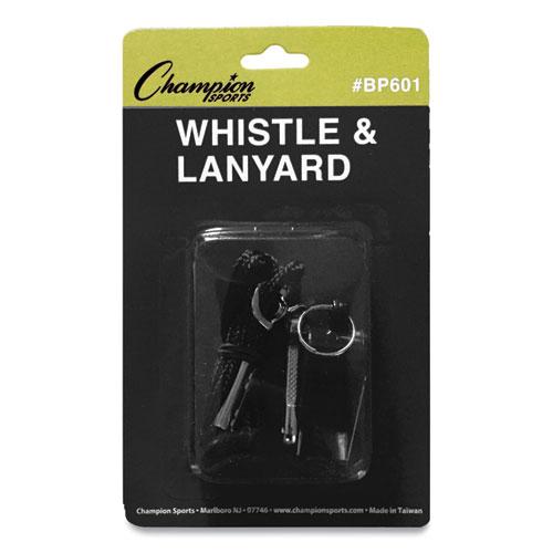 Sports Whistle with Black Nylon Lanyard, Plastic, Black