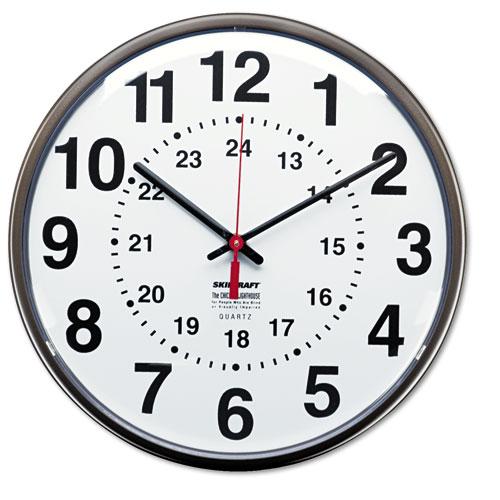 6645013428199, 12/24 Hour Slimline Quartz Wall Clock, 12 3 ...