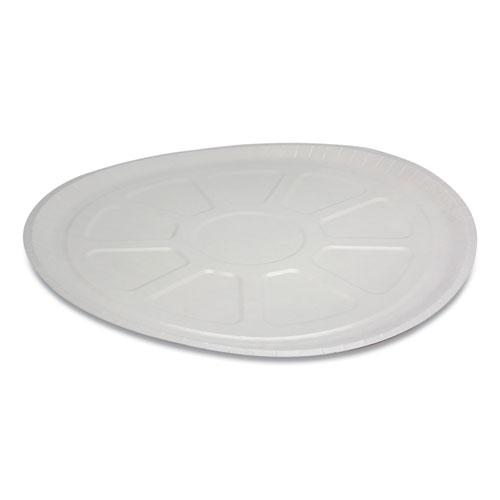 "Pactiv Pressware Paperboard Trays, 16.5"" Diameter x 0.63""h, White/Brown Specs, 150/Carton"