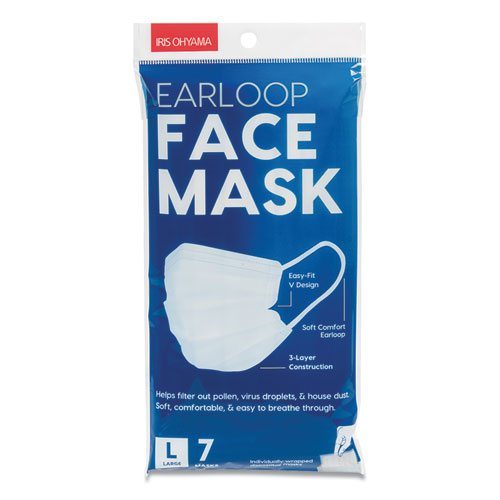 Earloop Disposable Face Mask, White, 7/Pack