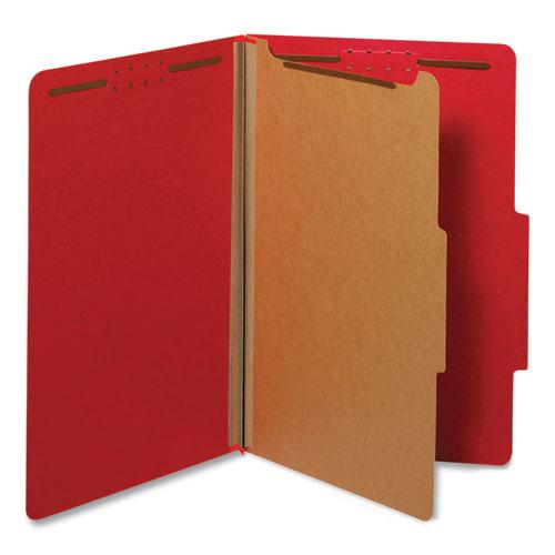 Bright Colored Pressboard Classification Folders, 1 Divider, Legal Size, Ruby Red, 10/Box