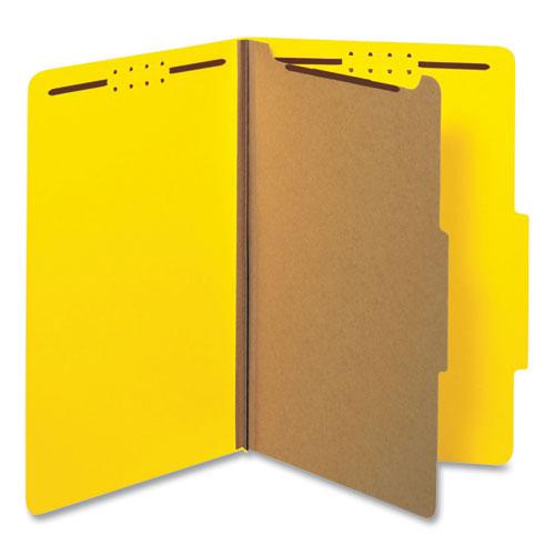 Bright Colored Pressboard Classification Folders, 1 Divider, Legal Size, Yellow, 10/Box