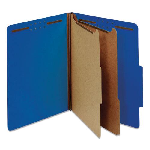 Bright Colored Pressboard Classification Folders, 2 Dividers, Letter Size, Cobalt Blue Cover, 10/Box