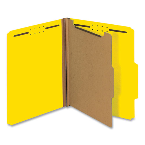 Bright Colored Pressboard Classification Folders, 1 Divider, Letter Size, Yellow, 10/Box