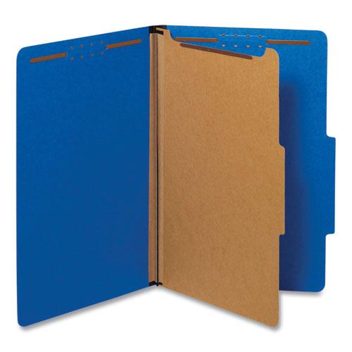 Bright Colored Pressboard Classification Folders, 1 Divider, Legal Size, Cobalt Blue, 10/Box