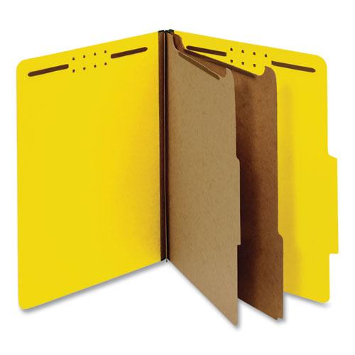 Bright Colored Pressboard Classification Folders, 2 Dividers, Letter Size, Yellow, 10/Box