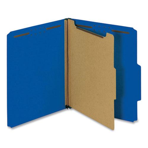 Bright Colored Pressboard Classification Folders, 1 Divider, Letter Size, Cobalt Blue, 10/Box