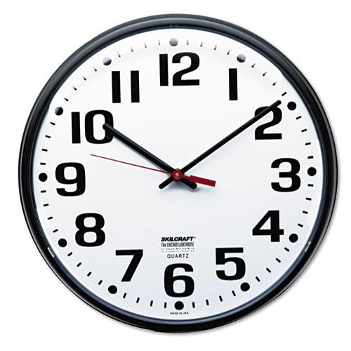 6645013897944 SKILCRAFT Slimline Quartz Wall Clock, 12.75 Overall Diameter, Black Case, 1 AA (sold separately)