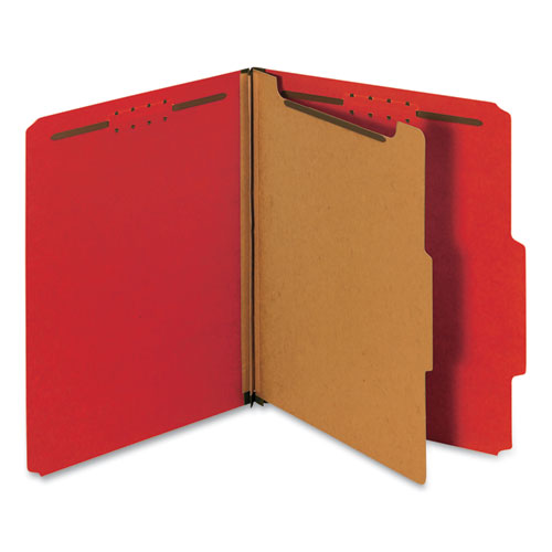 Bright Colored Pressboard Classification Folders, 1 Divider, Letter Size, Ruby Red, 10/Box