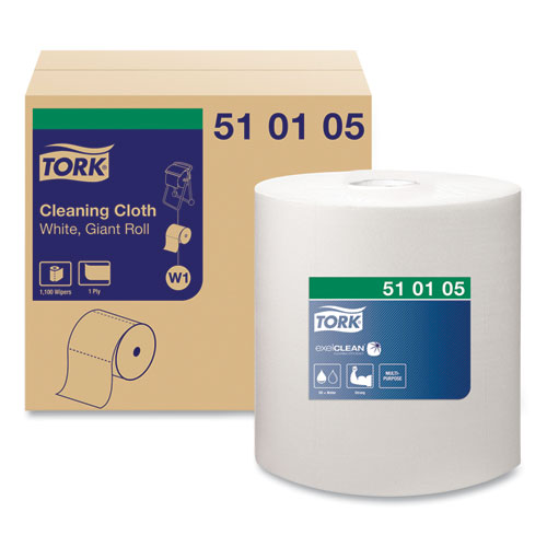 Tork® Cleaning Cloth, 12.6 x 13.3, White, 1,100 Wipes/Roll