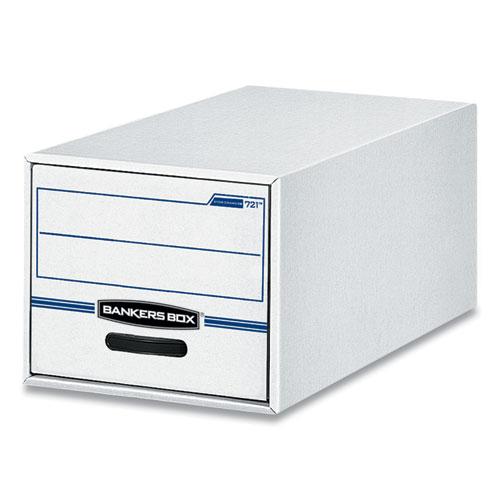 """Bankers Box® STOR/DRAWER Basic Space-Savings Storage Drawers, Legal Files, 16.75"""" x 19.5"""" x 11.5"""", White/Blue, 6/Carton"""