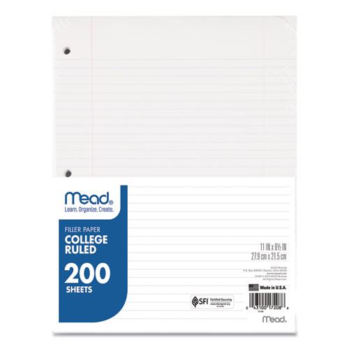 Filler Paper, 3-Hole, 8.5 x 11, College Rule, 200/Pack