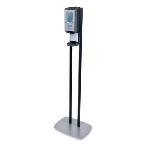 PURELL® CS6 Hand Sanitizer Floor Stand with Dispenser, 1,200 mL, 13.5 x 5 x 28.5, Graphite/Silver