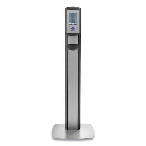 PURELL® MESSENGER CS8 Silver Panel Floor Stand with Dispenser, 1,200 mL, 15.13 x 16.62 x 52.68, Graphite/Silver