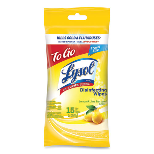 Disinfecting Wipes Flatpacks, 6.29 x 7.87, Lemon and Lime Blossom, 15 Wipes/Flat Pack, 48 Flat Packs/Carton