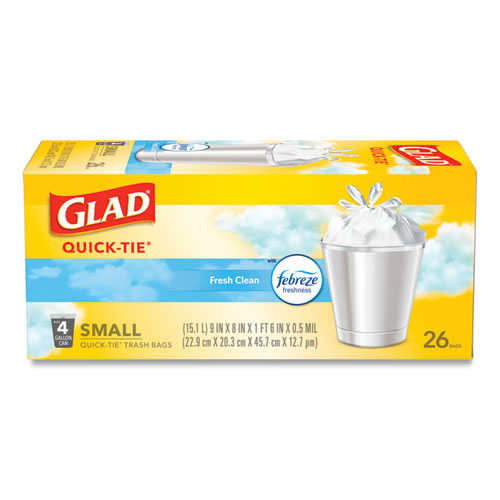 "Glad® OdorShield Quick-Tie Small Trash Bags, 4 gal, 0.5 mil, 8"" x 18"", White, 156/Carton"