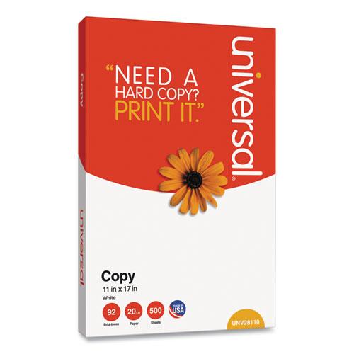 Copy Paper, 92 Bright, 20 lb, 11 x 17, White, 500 Sheets/Ream