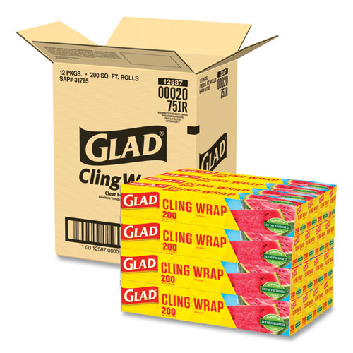 ClingWrap Plastic Wrap, 200 Square Foot Roll, Clear, 12/Carton