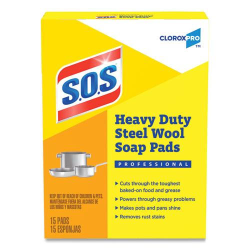 Steel Wool Soap Pads, 4 x 5, Steel,15/Box