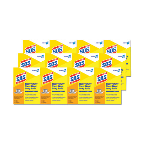 Steel Wool Soap Pads, 4 x 5, Steel, 15 Pads/Box, 12 Boxes/Carton