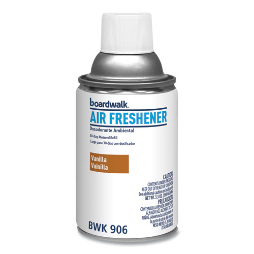 Boardwalk® Metered Air Freshener Refill, Vanilla Bean, 5.3 oz Aerosol, 12/Carton