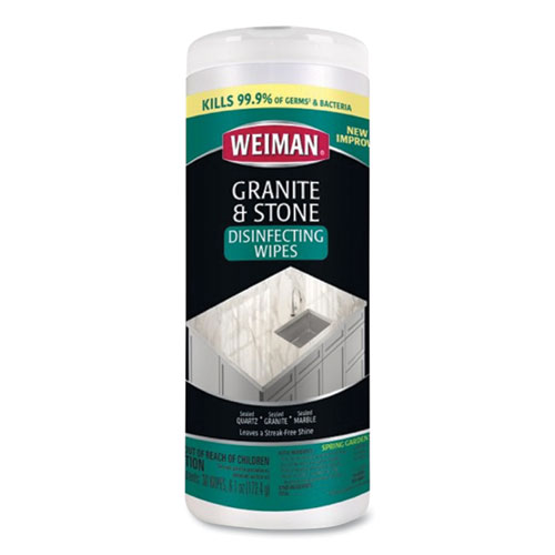 Granite and Stone Disinfectant Wipes, Spring Garden Scent, 7 x 8, 30/Canister, 6 Canisters/Carton