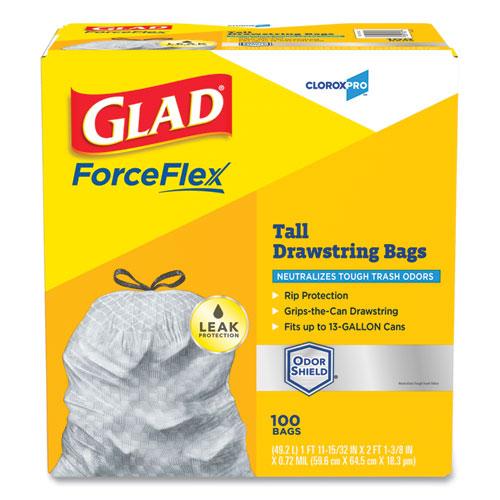 ForceFlex Tall Kitchen Drawstring Trash Bags, 13 gal, 0.72 mil, 23.75 x 24.88, Gray, 100/Box