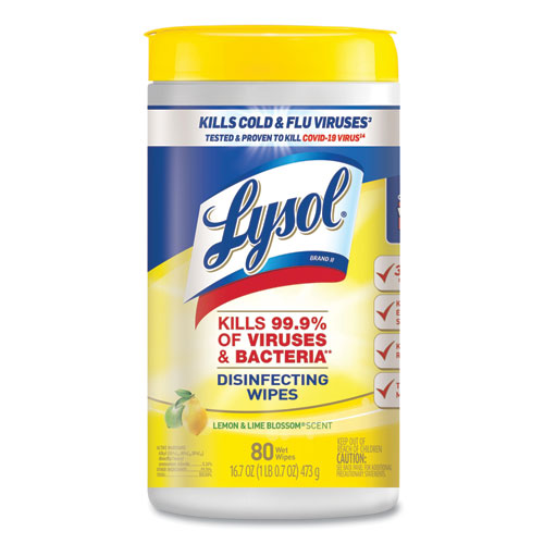 LYSOL® Brand Disinfecting Wipes, 7 x 7.25, Lemon and Lime Blossom, 80 Wipes/Canister, 6 Canisters/Carton