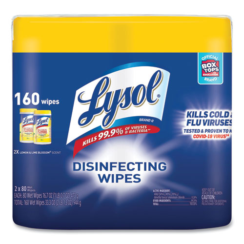 Disinfecting Wipes, 7 x 7.25, Lemon and Lime Blossom, 80 Wipes/Canister, 2 Canisters/Pack, 3 Packs/Carton