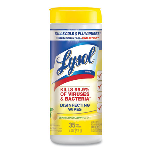 LYSOL® Brand Disinfecting Wipes, 7 x 7.25, Lemon and Lime Blossom, 35 Wipes/Canister