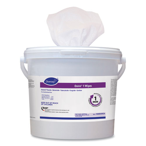 """Diversey™ Oxivir 1 Wipes, 11"""" x 12"""", 160/Canister, 4/Carton"""