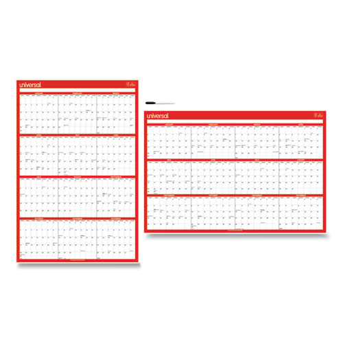 Erasable Wall Calendar, 24 x 36, White/Red, 2021
