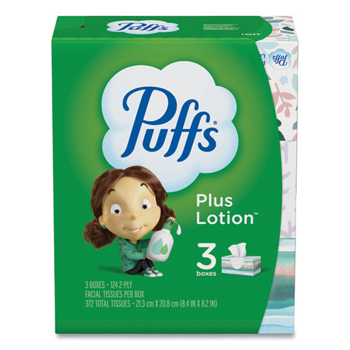 Puffs® Plus Lotion Facial Tissue, White, 2-Ply, 124/Box, 3 Box/Pack