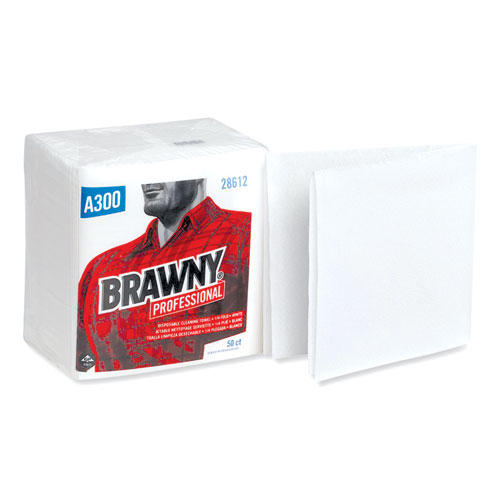 Brawny® Professional Cleaning Towels, 1-Ply, 12 x 13, White, 50/Pack, 12 Packs/Carton