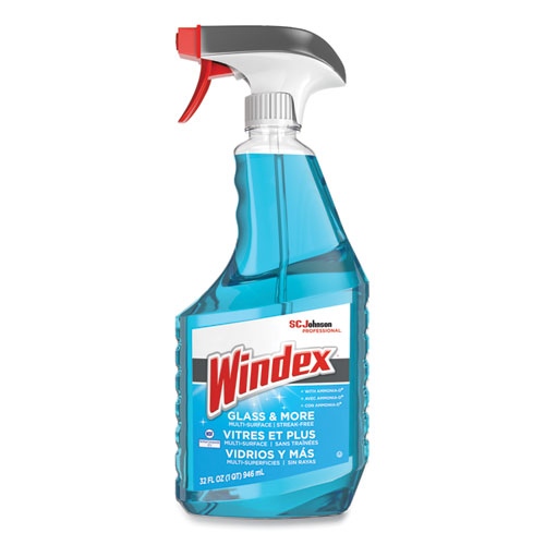 Windex® Glass Cleaner with Ammonia-D, 32oz Capped Bottle with Trigger, 12/Carton