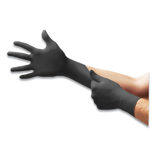 MICROFLEX MidKnight Powder-Free Nitrile Gloves, 4.7 mil Palm, 5.9 mil Fingers, 2X-Large, Black, 100/Box