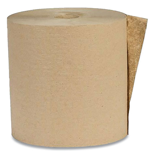 Eco Green® Recycled Hardwound Paper Towels, 1-Ply, 1.8 Core, 7.88 x 800 ft, Kraft, 6 Rolls/Carton