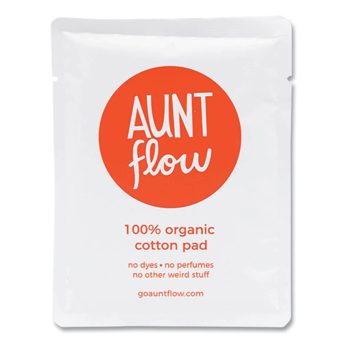Aunt Flow® 100% Organic Cotton Day Pads with Wings, Regular, 500/Carton