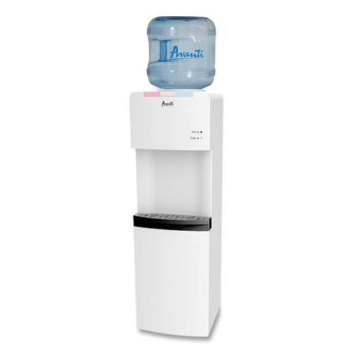 Hot and Cold Water Stand Up Dispenser, 3-5 gal, 11 x 12 x 36, White