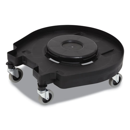 Click-Connect Waste Receptacle Dolly, Female End, For 32-44 gal Receptacles, 22.25 x 20.3 x 6.6, Black