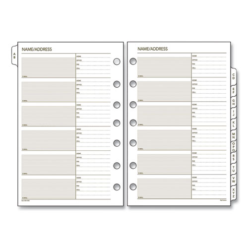 Telephone/Address 1/12-Cut A-Z Tab Refill, 7-Hole Punched, 8.5 x 5.5, 12 Sheets